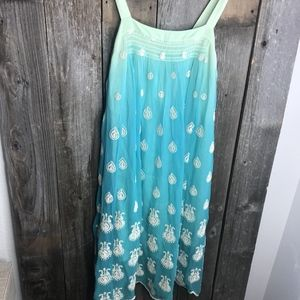 Tracy Reese Ombre Batiked BOHO Teal Green Dress